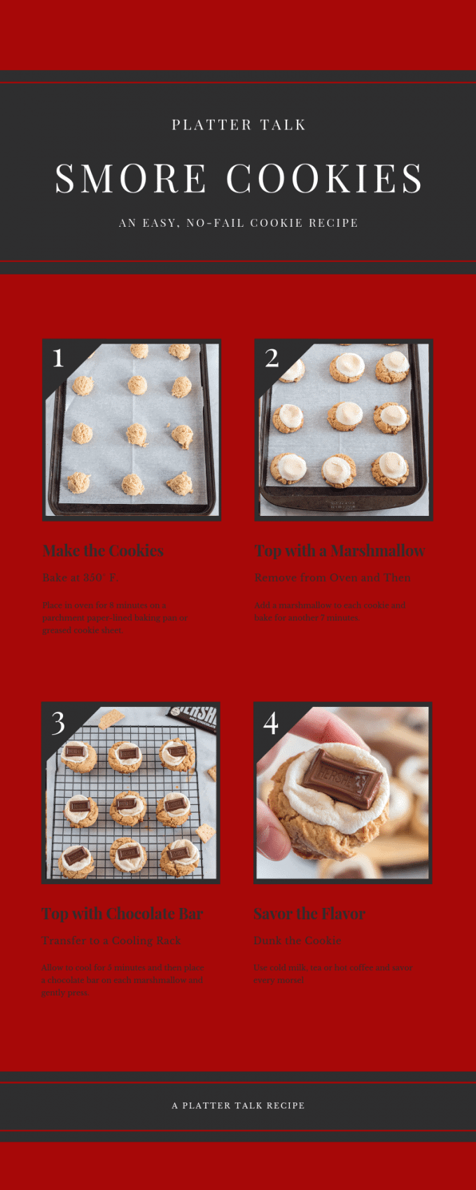 Process for making s'more cookies.