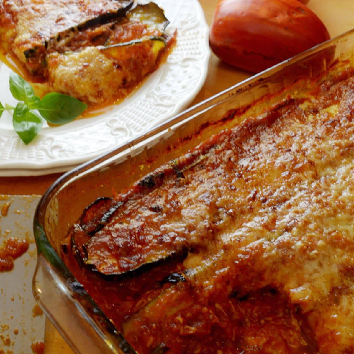 Pan of baked zucchini casserole