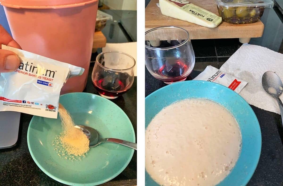 Pouring yeast into a bowl of warm water to proof it.