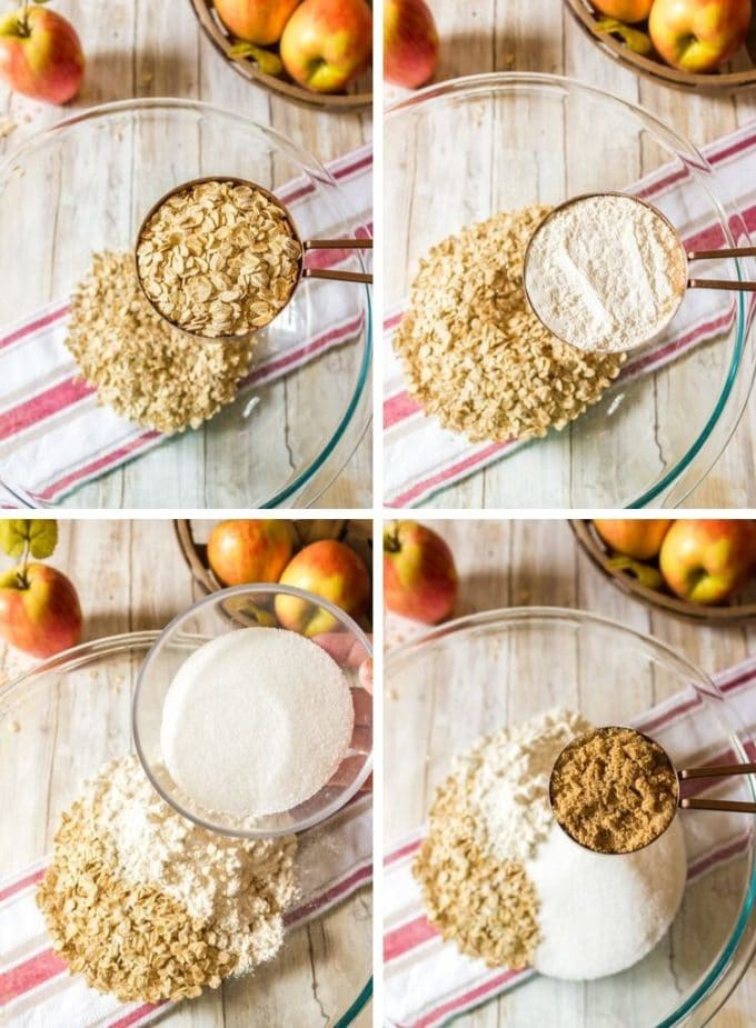 Process photos showing the steps to making oatmeal bars