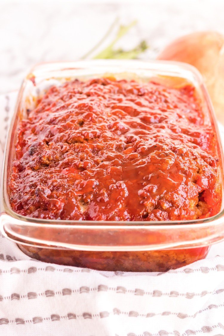 Fresh baked meatloaf in a pan.