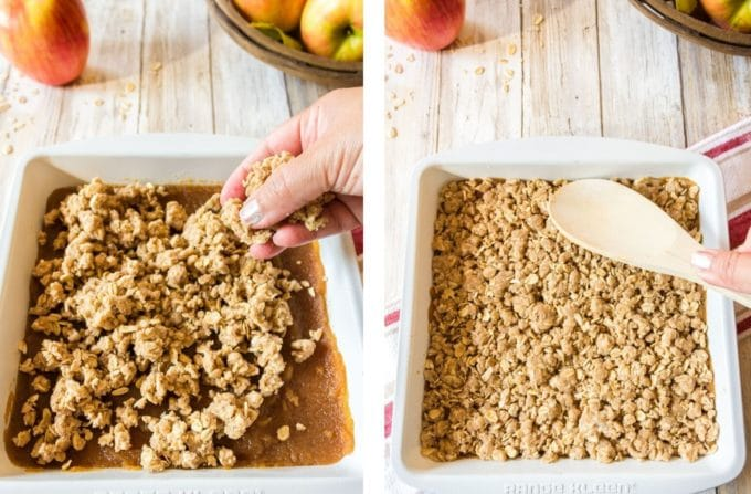 Adding crumb topping to oatmeal and apple butter bars.