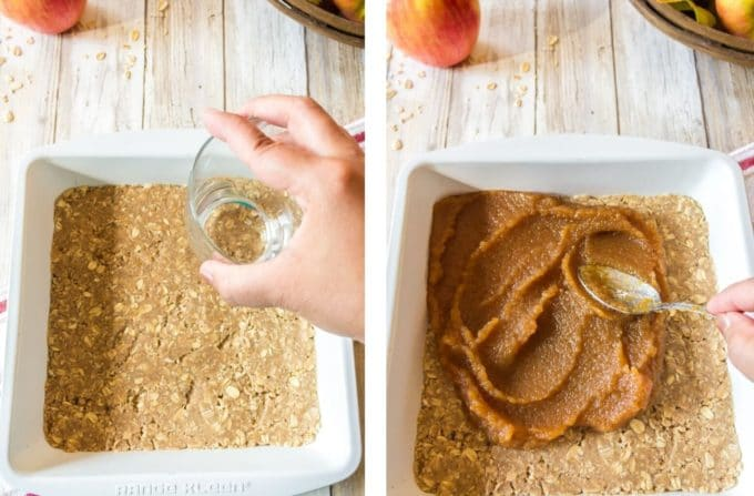 Pressing dough for oat bars into a baking pan and adding apple butter.
