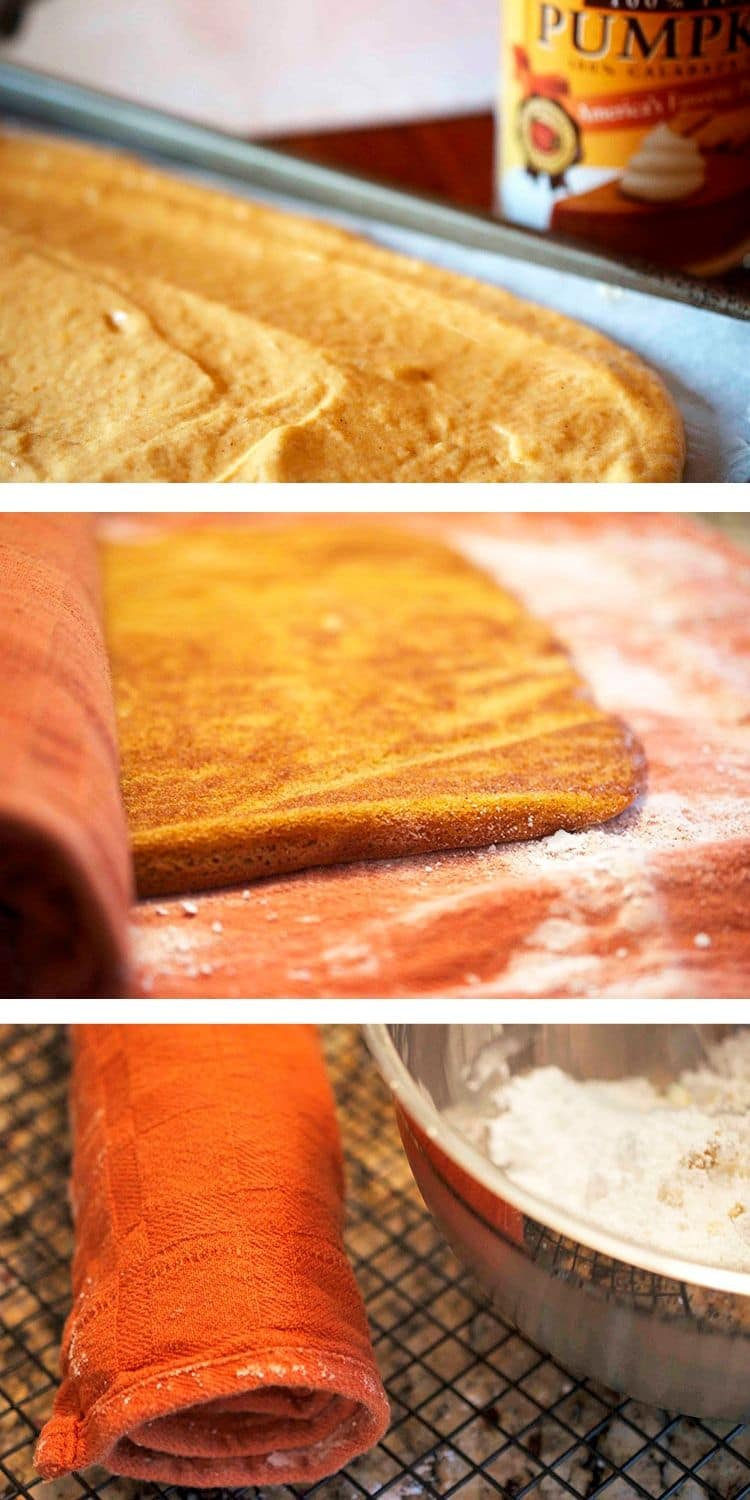 Process steps for making a roll cake in a kitchen towel dusted with powdered sugar.