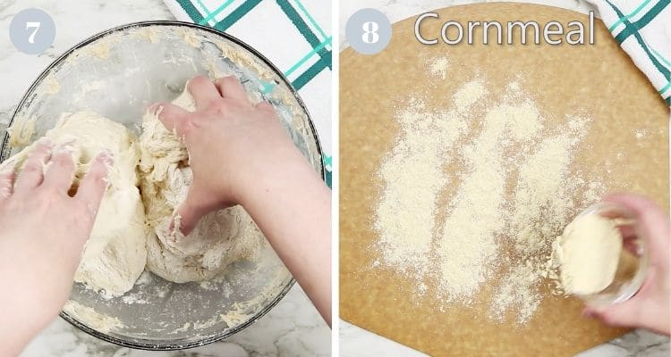 Dividing wet bread dough and spreading cornmeal on a cutting pizza peel.