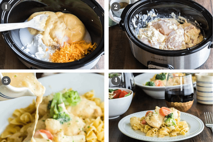 Step-by-Step process photos of making crockpot chicken dinner.
