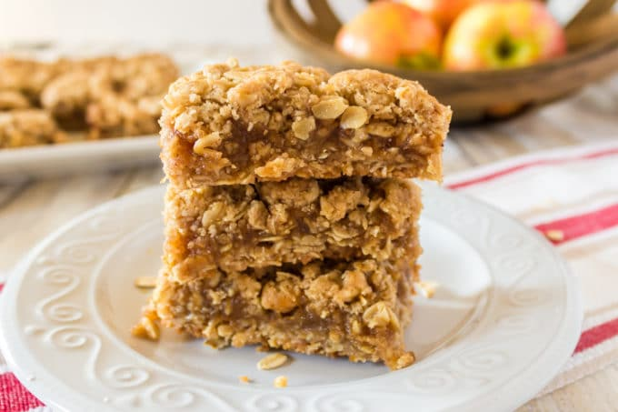 Stack of oatmeal bars with apple butter filling.