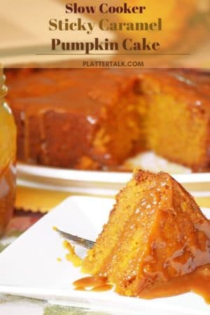 serving of crock-pot pumpkin cake on a white dish.