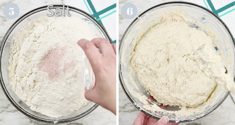 Adding salt and stirring bread dough