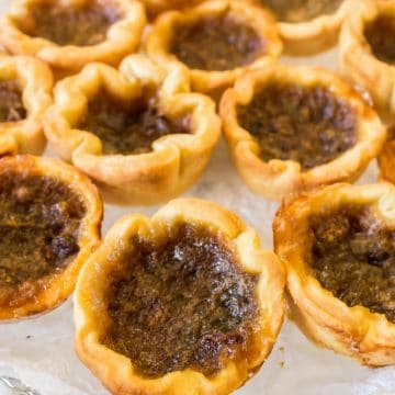 Serving tray of old fashioned butter tarts.