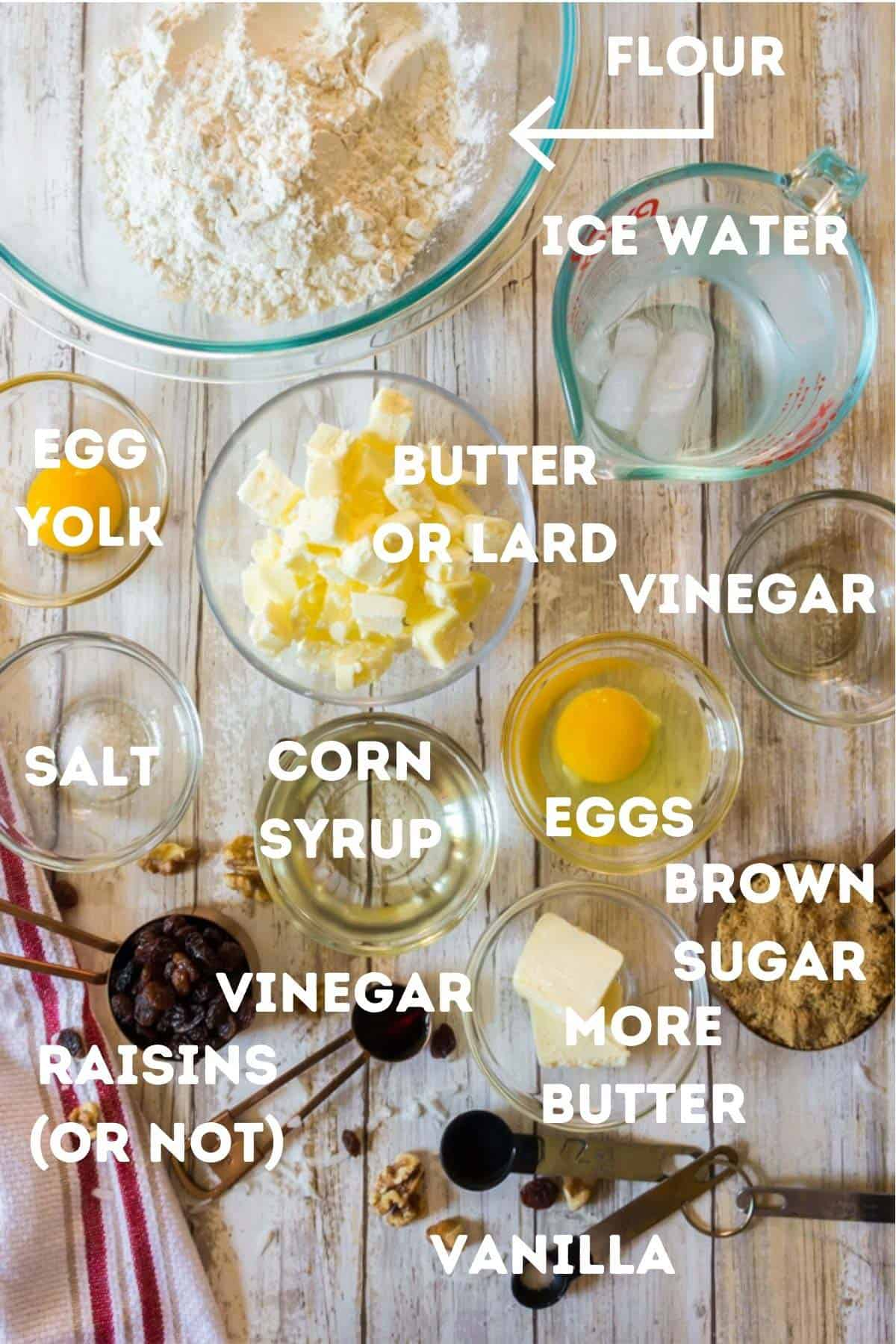 A bunch of ingredients to make butter tarts