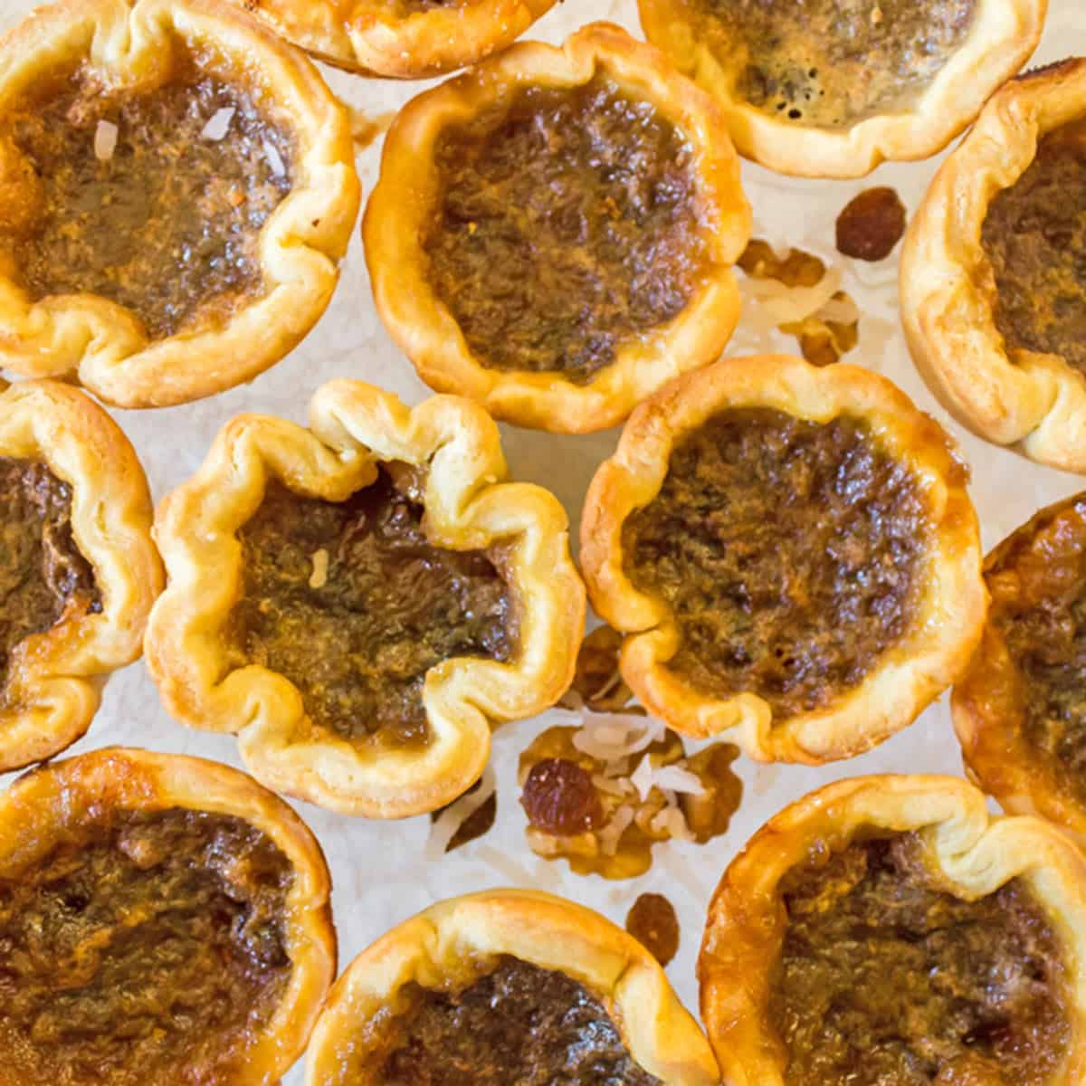 Overhead view of Canadian butter tarts