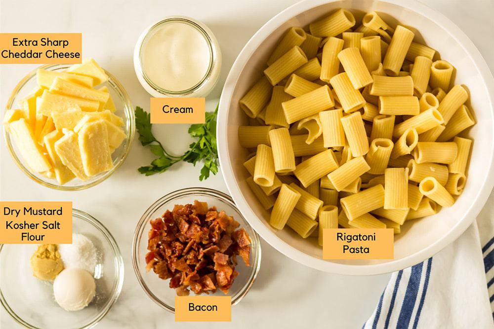 Ingredients for baked mac and cheese.