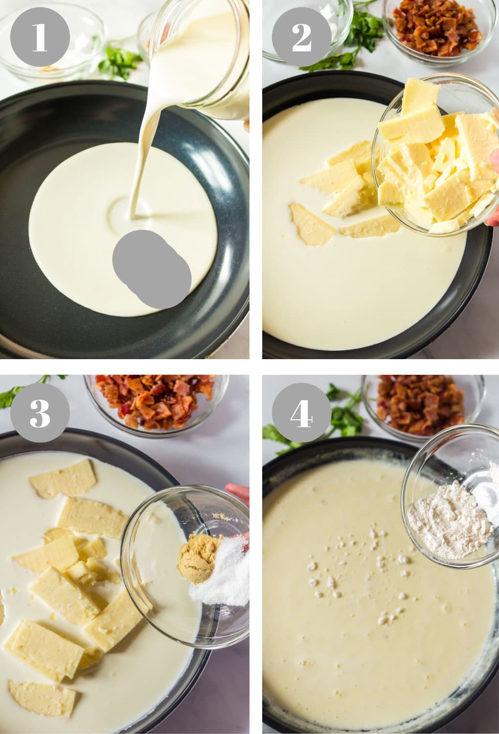 Process steps to making a roux, or a sauce, for macaroni and cheese.