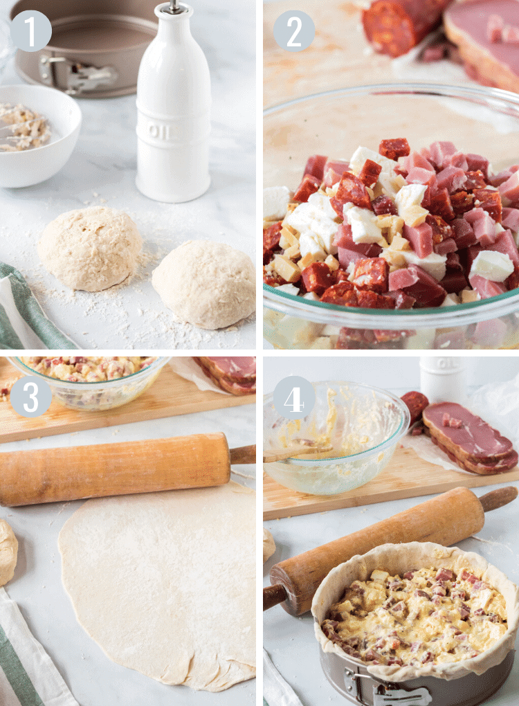 Steps to make pizza rustica with dough and filling.