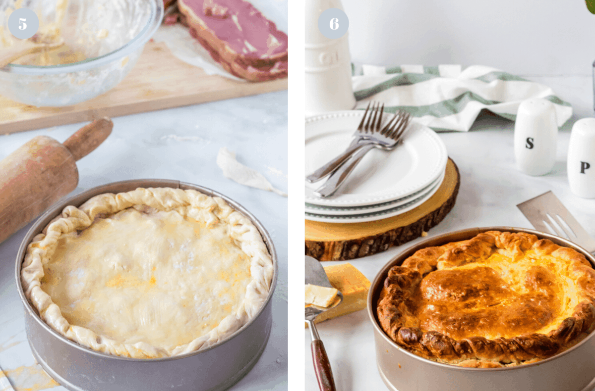 Unbaked pizza rustica and a baked pizza rustica