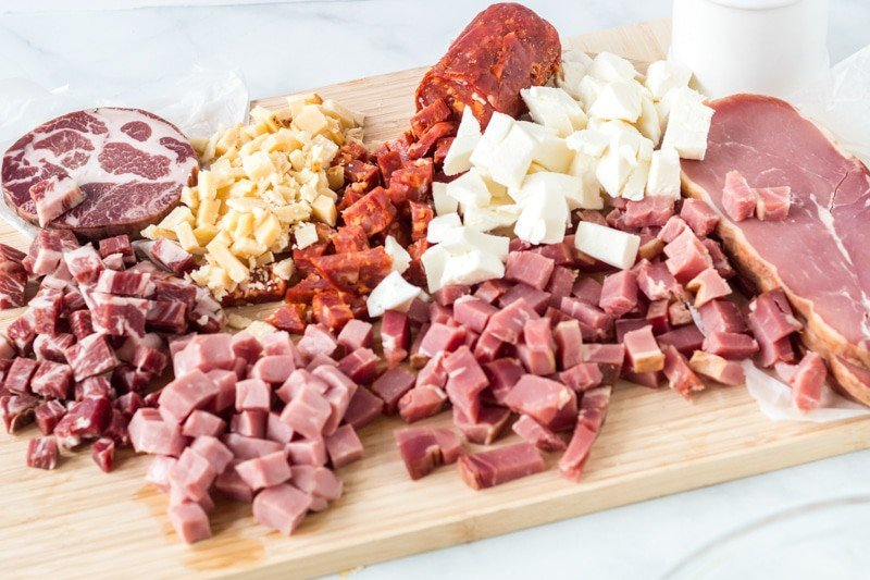 Variety of Italian deli meat and cheeses
