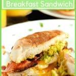 Avocaod breakfast sandwich, split in half.