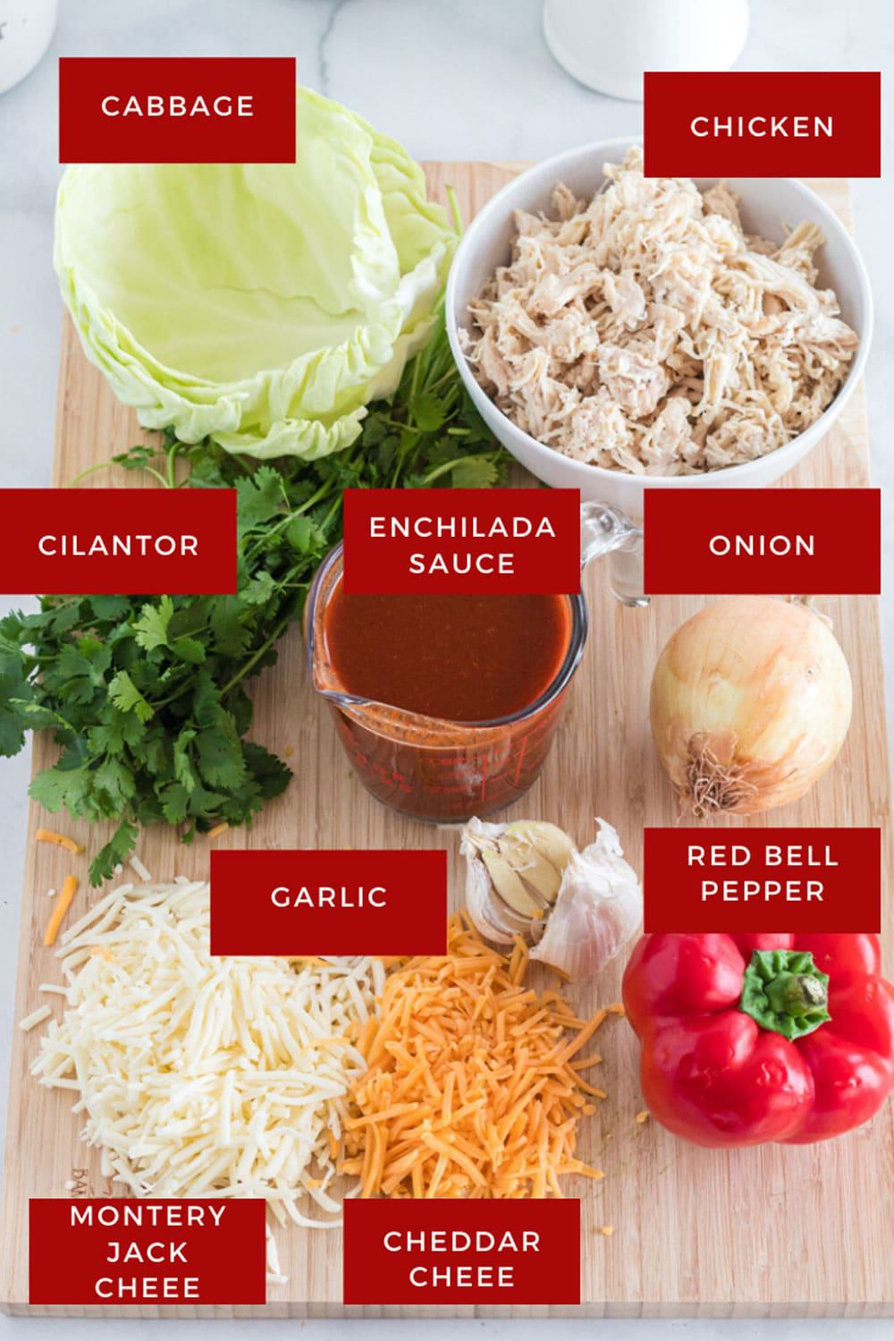 Chicken, cabbage, sauce, cheese, and other ingredients for keto enchiladas