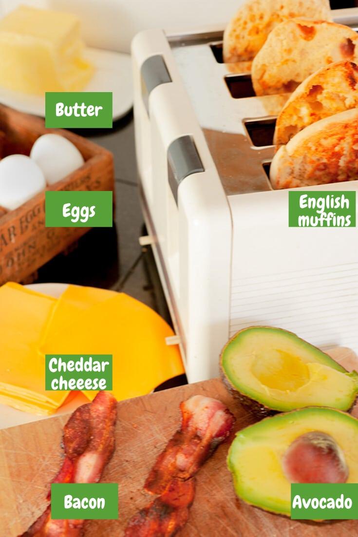 Ingredients for avocado breakfast sandwich.
