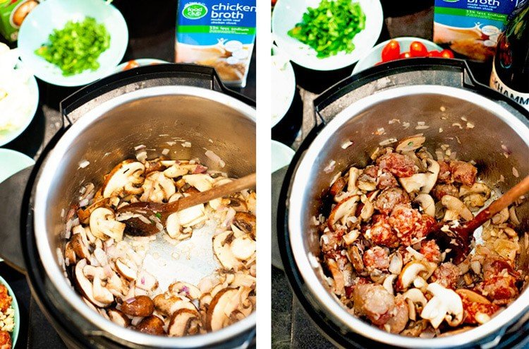 Shallots and mushrooms and Italian sausage being sauteeing in an instant pot.