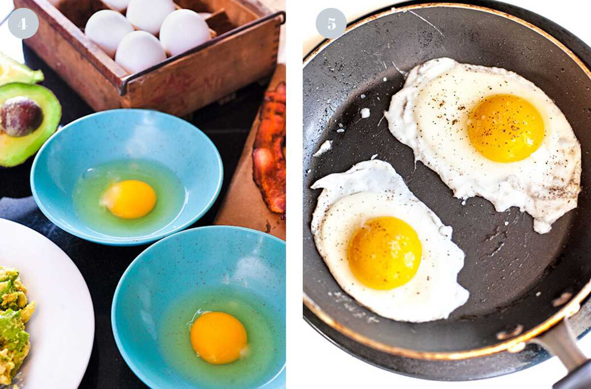 Frying eggs in a non-stick skillet.