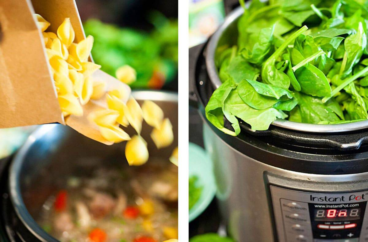 Adding pasta and spinach to an instant pot.