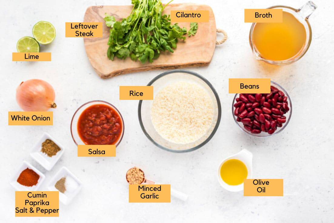 Ingredients that are needed to make Spanish Rice and Beans