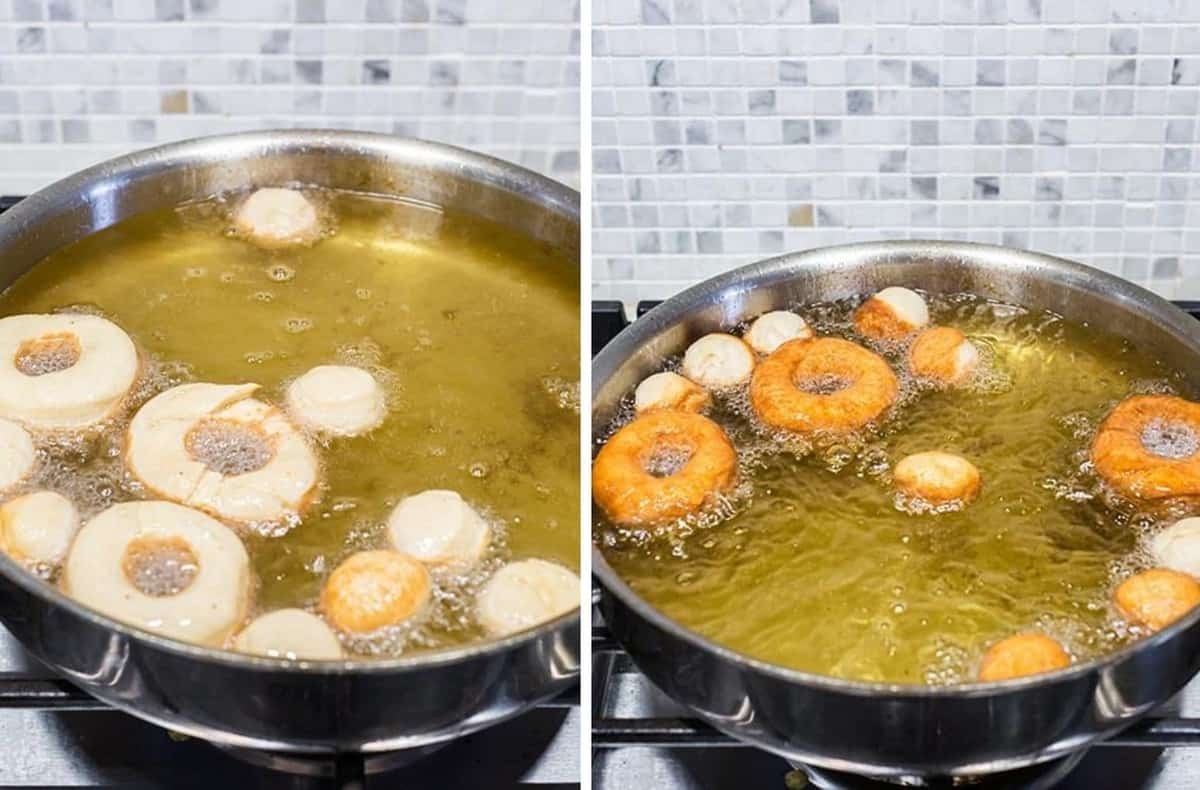 Yeast Donuts frying in hot oil