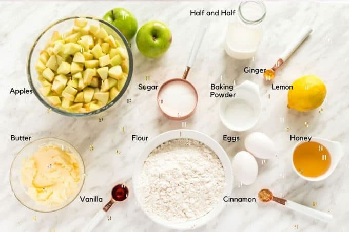 Bowl of apples and other ingredients for buckle recipe
