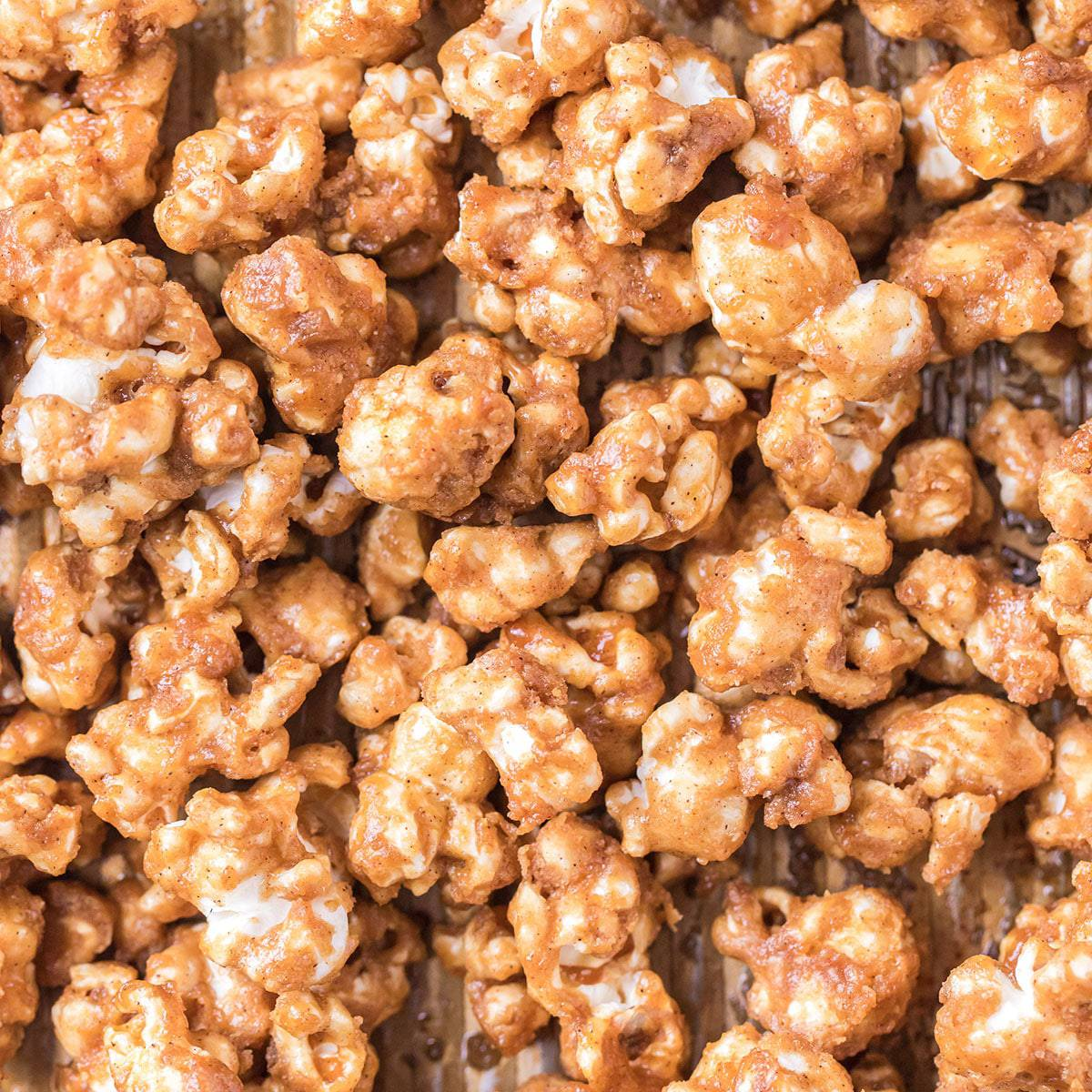 Closeup view of caramel popcorn.