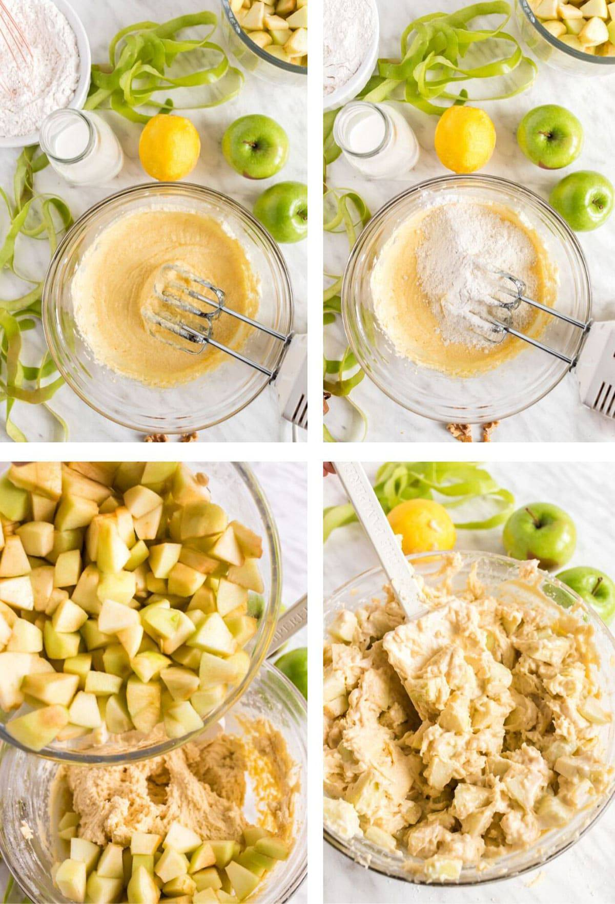 Adding apples to a mixing bowl