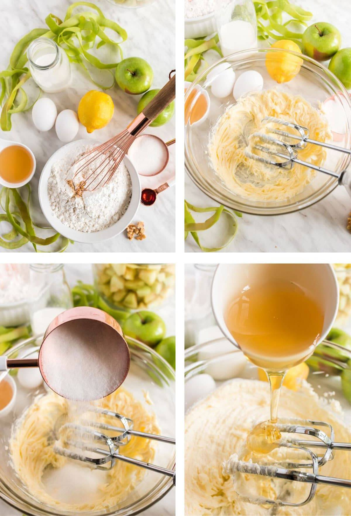 A mixing bowl with baking ingredients