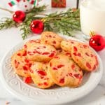 Plate of cherry Christmas cookies