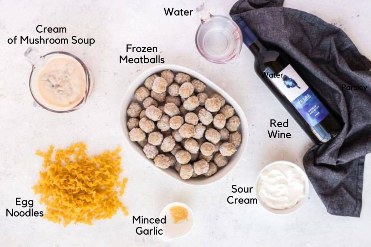 Frozen meatballs and other ingredients for meatball stroganoff