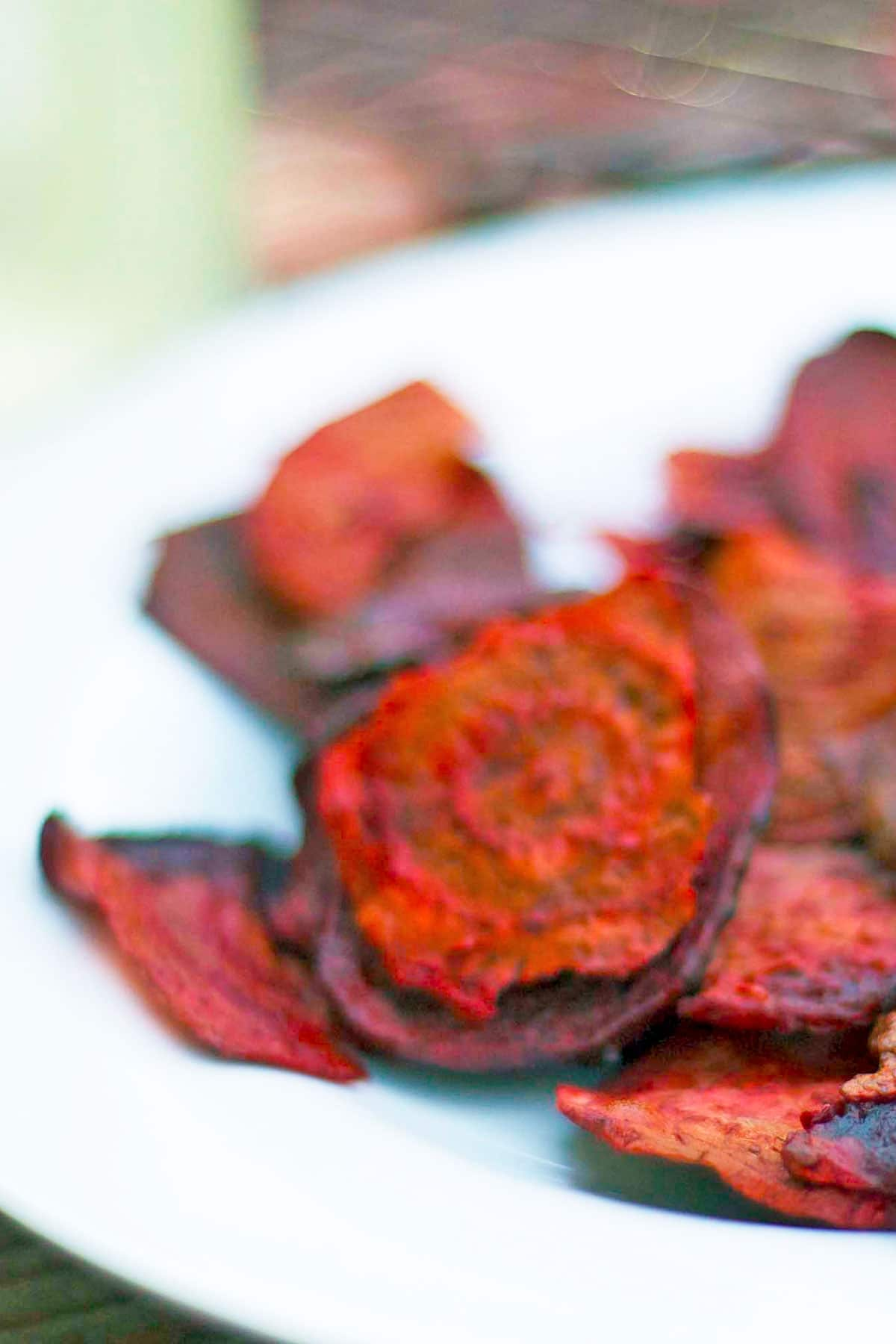 Plate of colorful beet chips