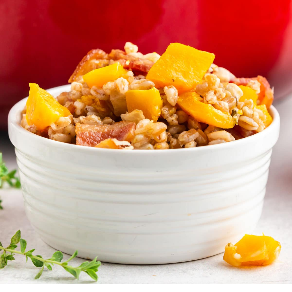 A bowl of farro with butternut squash
