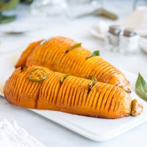 Hasselback butternut squash on a plate
