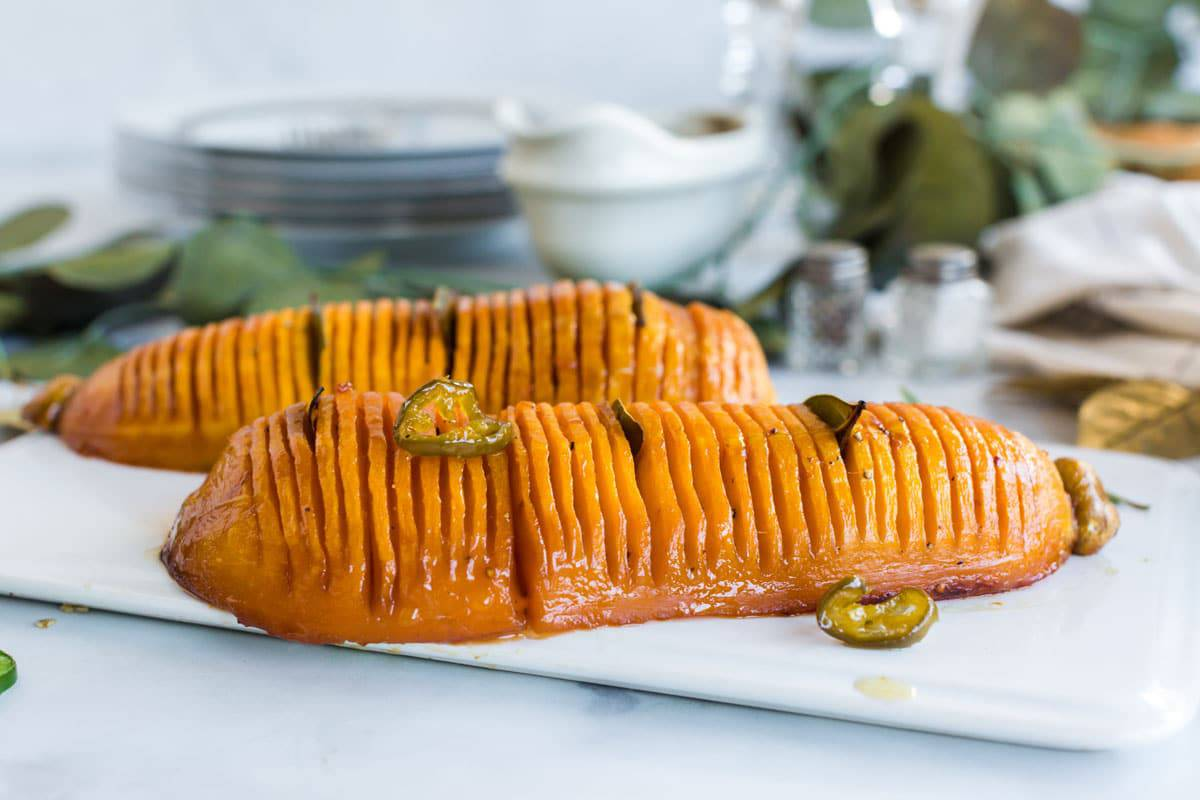 Butternut squash on a holiday serving plate
