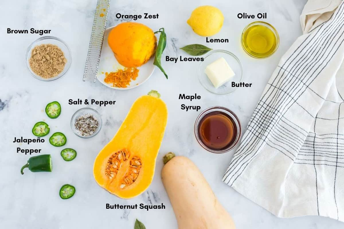 Ingredients for butternut squash recipe