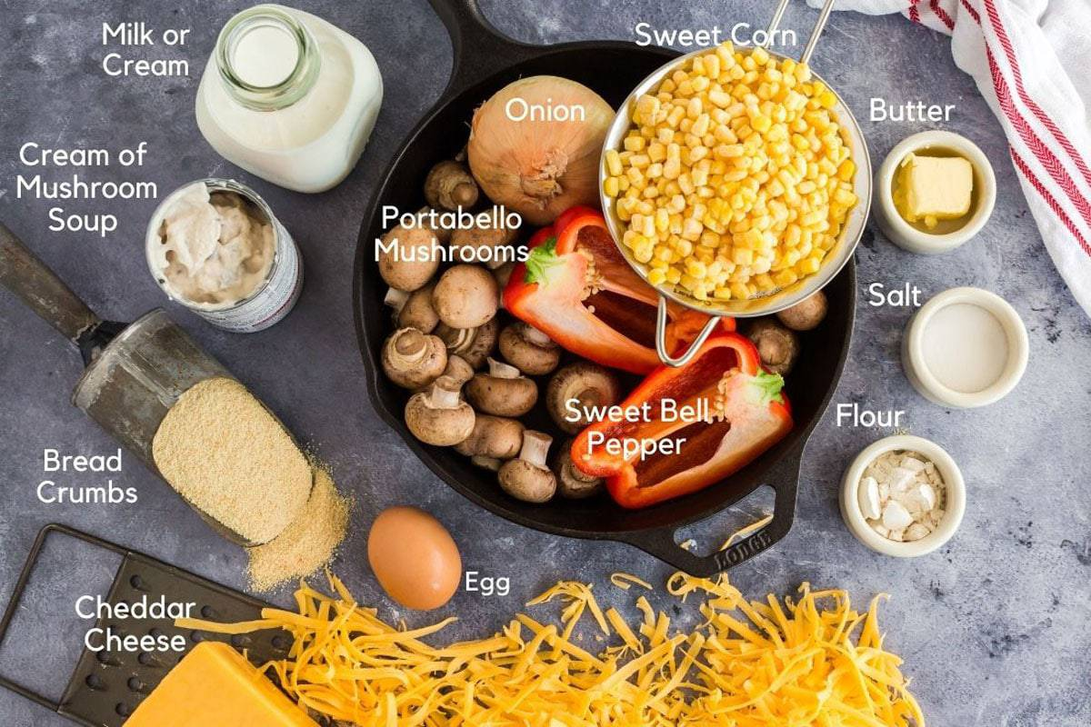 A bunch of ingredients for making scalloped corn