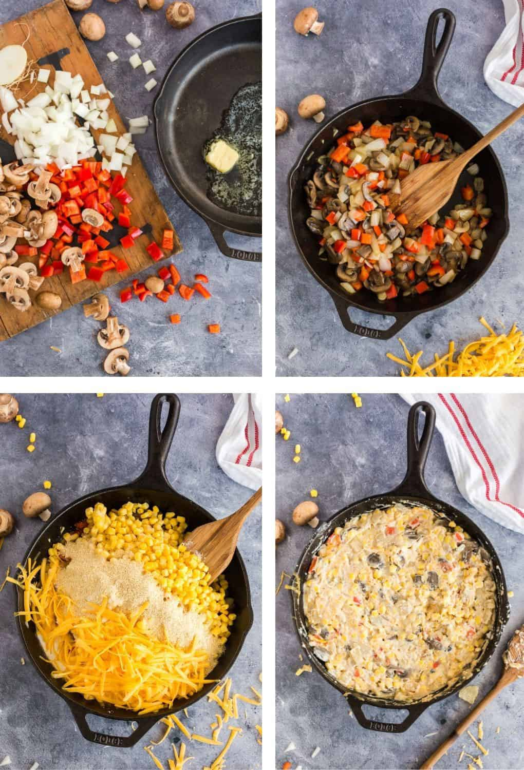 Making a vegetable casserole in a skillet