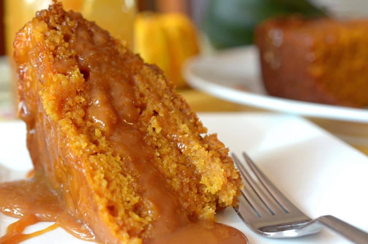 a slice of pumpkin cake on a plate
