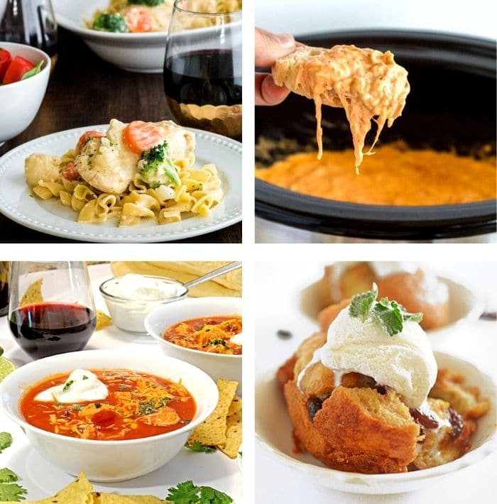 A bunch of different food made in the slow cooker.