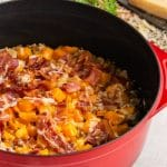 Casserole dish with butternut squash and farro