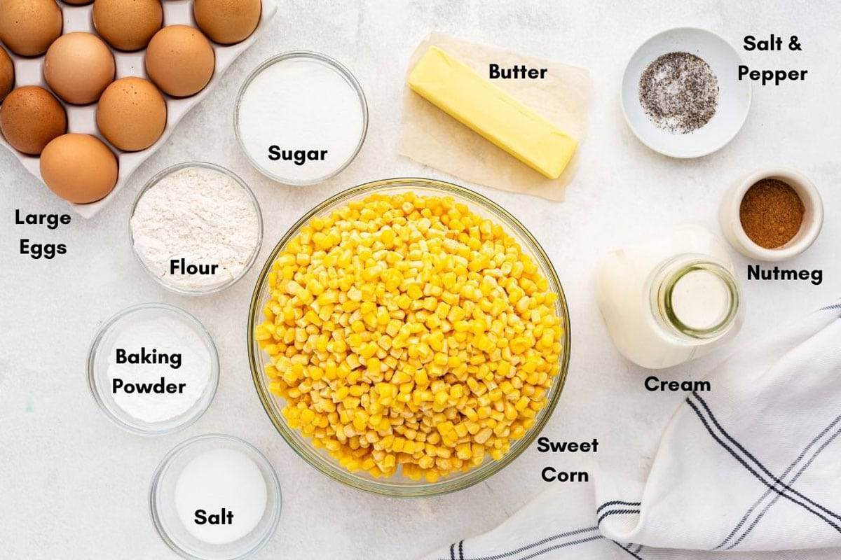 A bowl of sweet corn and other ingredients for corn pudding