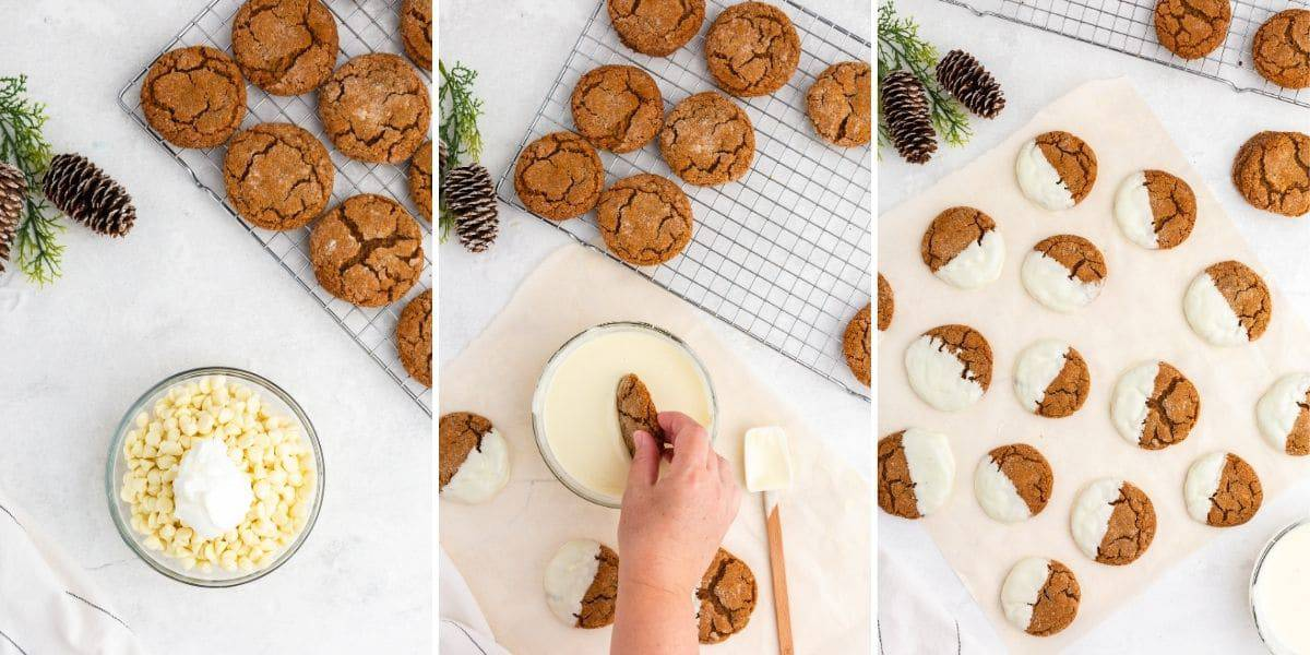 Dipping cookies in white chocolate to make frosted ginger cookies