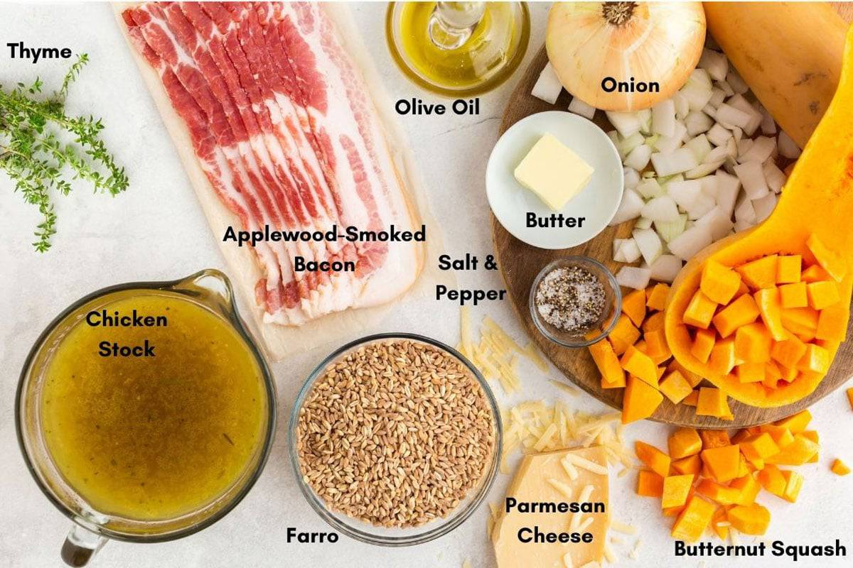 Bacon and other ingredidents for farro casserole