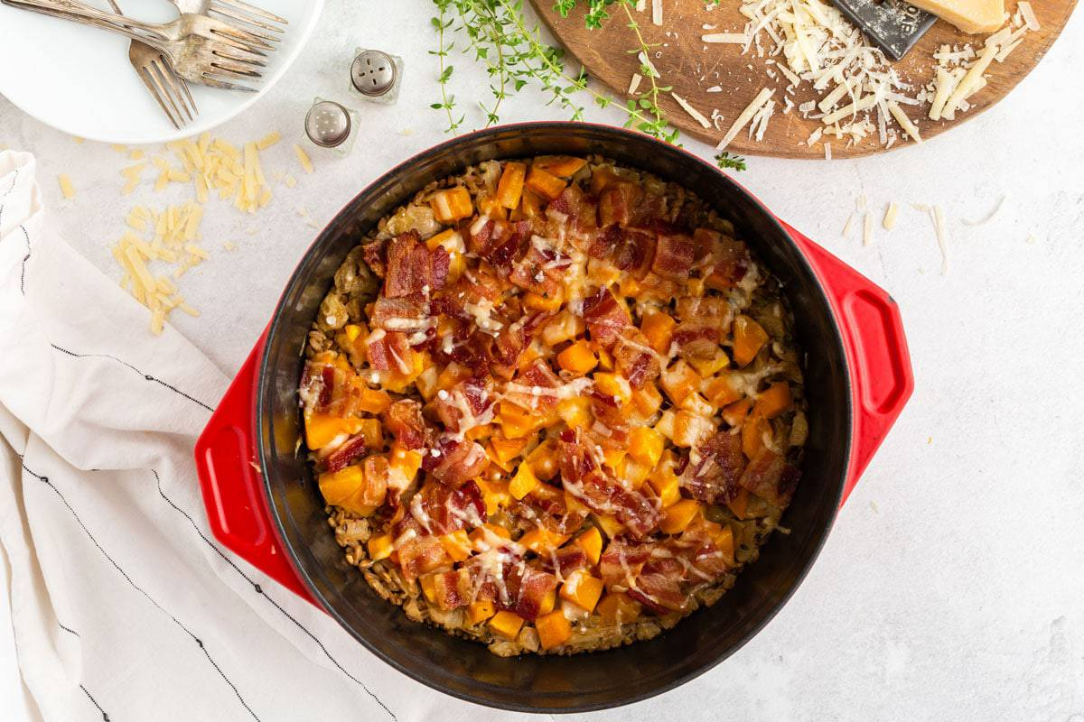 A baked casserole in a Dutch oven