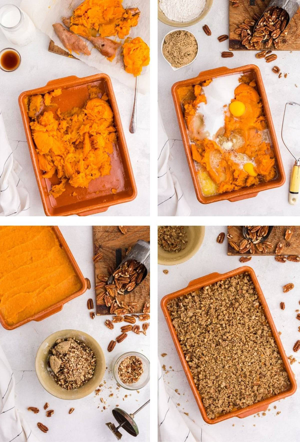 Different steps to making a sweet potato casserole